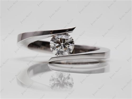 White Gold 0.60 Round cut Solitaire Diamond Ring