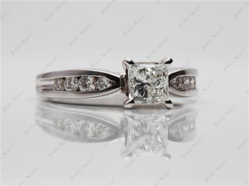 White Gold 0.76 Princess cut Diamond Channel Ring