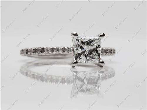Platinum 1.07 Princess cut Pave Ring