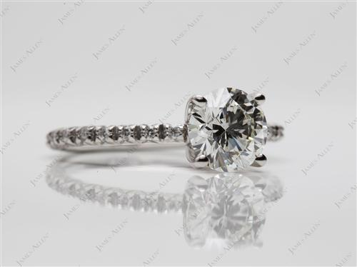 Platinum 1.31 Round cut Pave Rings