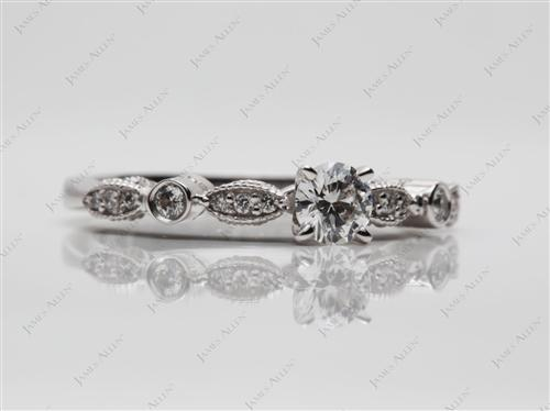 White Gold 0.30 Round cut Diamond Rings With Side Stones
