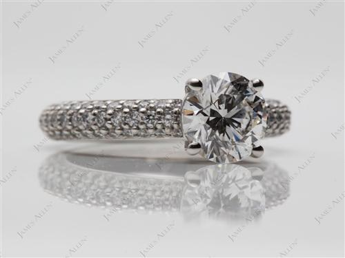Platinum 1.31 Round cut Pave Diamond Ring