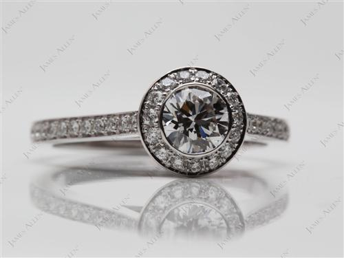 White Gold 0.76 Round cut Micropave Rings