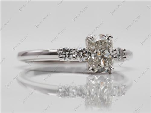White Gold 0.80 Cushion cut Engagement Ring Side Stones