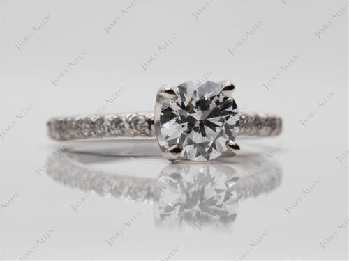 White Gold 0.79 Round cut Micro Pave Ring