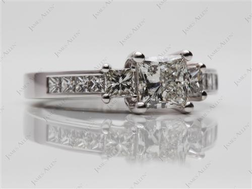 White Gold 1.00 Princess cut Engagement Rings