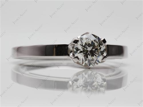 White Gold 0.90 Round cut Solitaire Ring Mountings