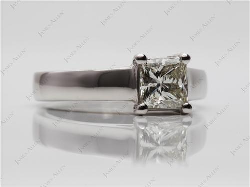 Platinum 0.74 Princess cut Solitaire Ring Setting