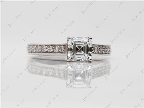 White Gold 1.15 Asscher cut Diamond Ring