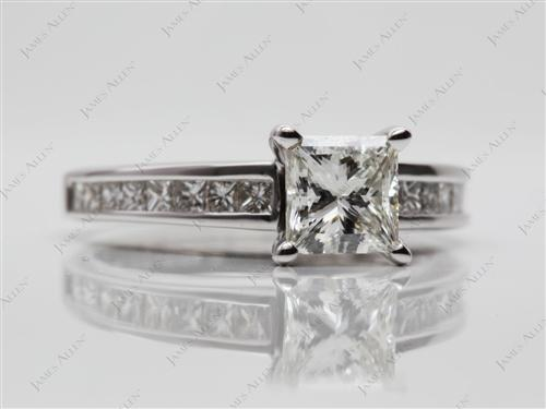 White Gold 1.00 Princess cut Channel Set Diamond Engagement Rings
