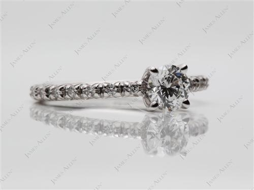 White Gold 0.41 Round cut Pave Diamond Engagement Ring