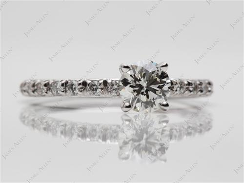 White Gold 0.64 Round cut Engagement Rings Pave