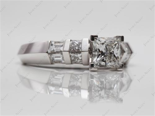 White Gold 0.75 Princess cut Engagement Ring With Side Stones