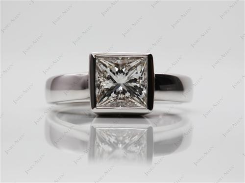 White Gold 1.32 Princess cut Diamond Rings