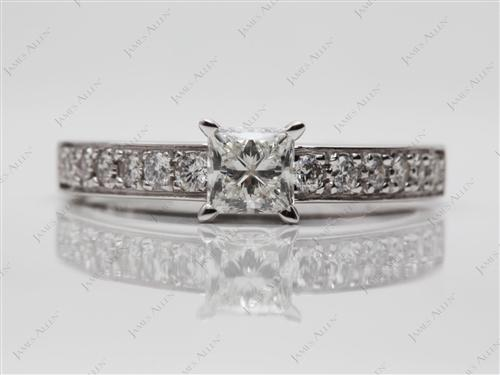 White Gold 0.75 Princess cut Pave Ring Set