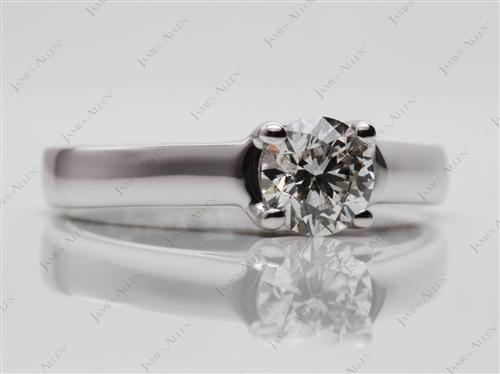 White Gold 0.70 Round cut Solitaire Rings
