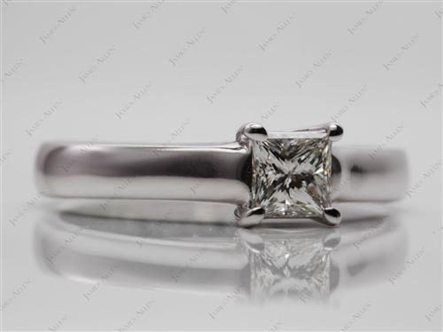White Gold 0.61 Princess cut Diamond Ring