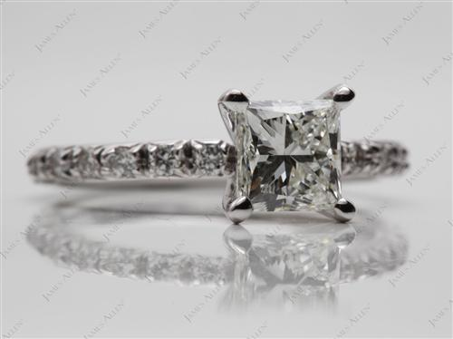 White Gold 1.10 Princess cut Engagement Rings Pave