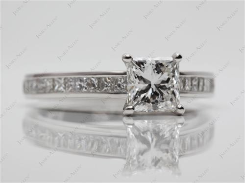 Platinum 1.03 Princess cut Channel Set Engagement Ring