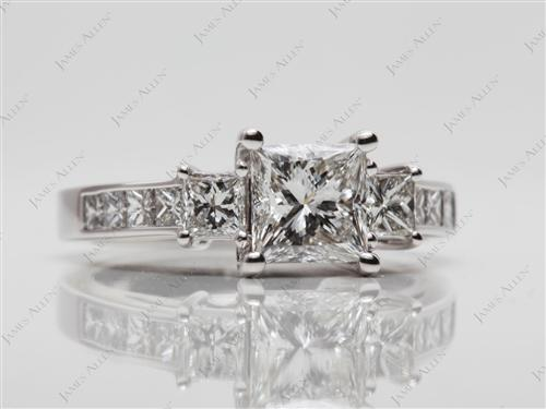 White Gold 1.01 Princess cut Princess Cut Engagement Rings With Side Stones