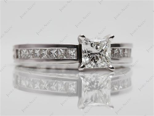 White Gold 0.75 Princess cut Engagement And Wedding Ring Sets