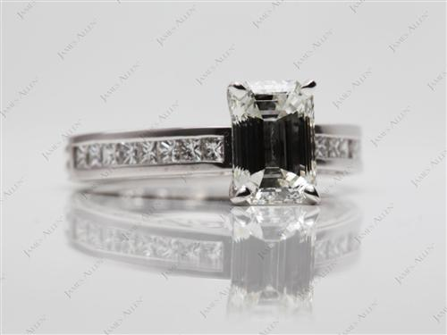 White Gold 1.71 Emerald cut Channel Setting Ring
