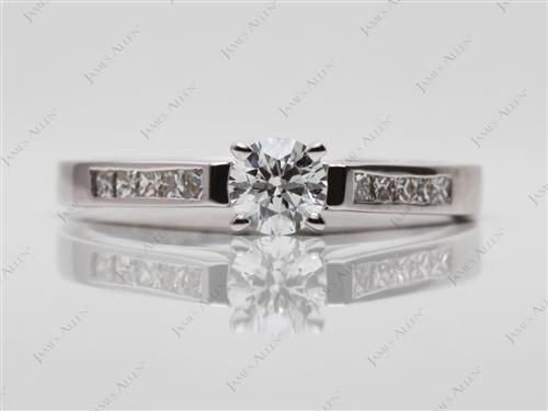 White Gold 0.40 Round cut Channel Set Diamond Rings
