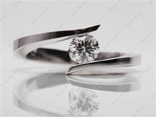 White Gold 0.46 Round cut Solitaire Diamond Ring