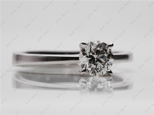 White Gold 0.77 Round cut Engagement Ring