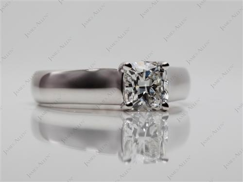 White Gold 0.80 Cushion cut Solitaire Diamond Rings