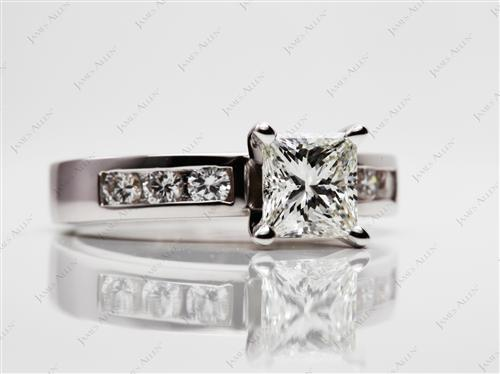 White Gold 1.06 Princess cut Channel Set Diamond Rings