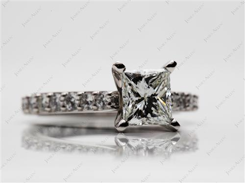 Platinum 1.01 Princess cut Engagement Rings With Side Stones