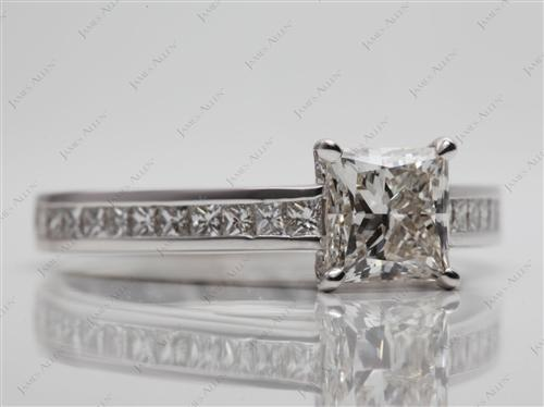 White Gold 1.08 Princess cut Channel Set Eternity Rings