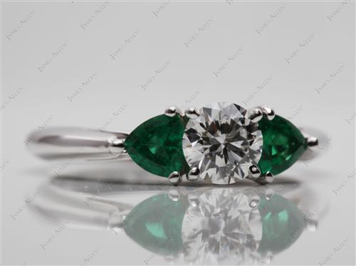 White Gold 0.63 Round cut Colored Gemstone Engagement Rings