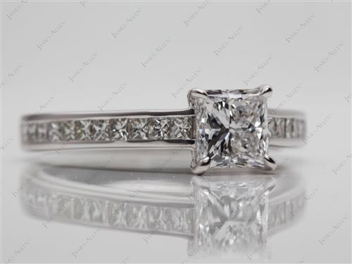 White Gold 0.90 Princess cut Channel Set Engagement Rings