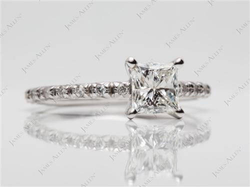 White Gold 0.75 Princess cut Pave Diamond Ring