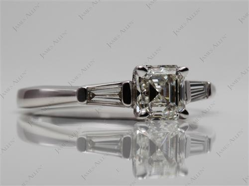White Gold 1.09 Asscher cut Engagement Rings