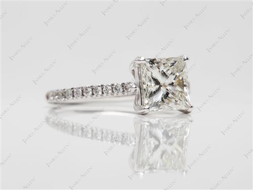 White Gold 1.53 Princess cut Diamond Pave Ring