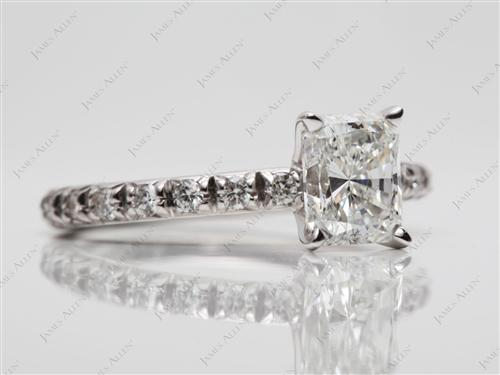 White Gold 1.00 Radiant cut Pave Ring Mountings
