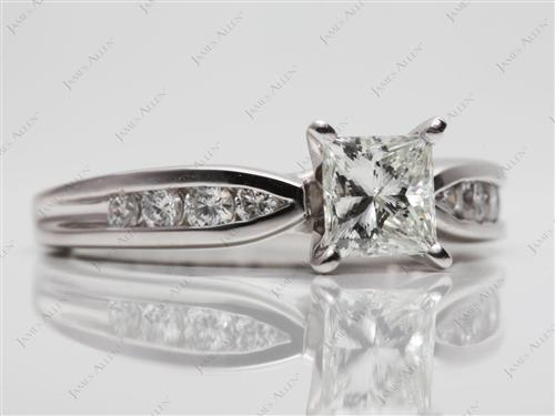 Platinum 0.81 Princess cut Channel Set Engagement Ring
