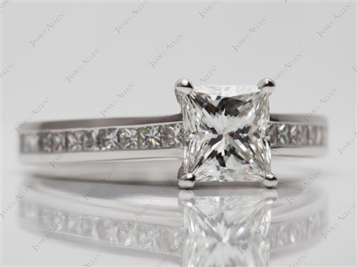 Platinum 1.13 Princess cut Channel Engagement Ring