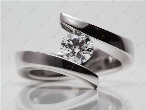 White Gold 0.76 Round cut Diamond Tension Ring