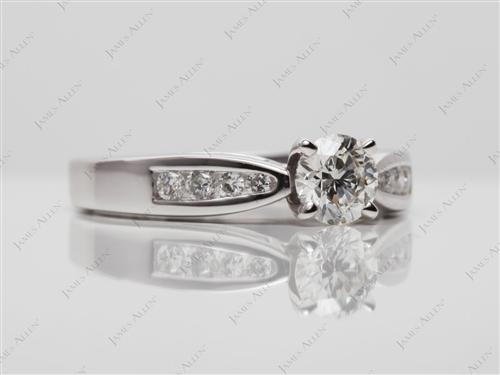 White Gold 0.46 Round cut Channel Set Diamond Engagement Rings