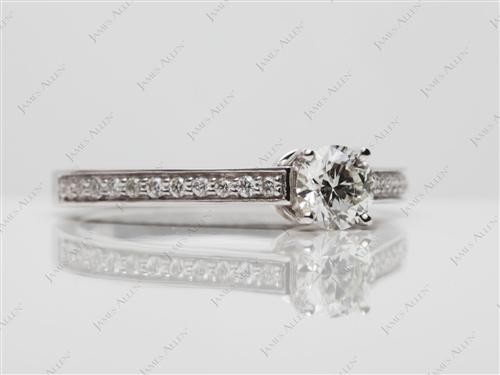 White Gold 0.47 Round cut Pave Ring