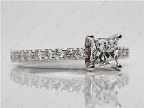 Platinum 0.90 Princess cut Engagement Rings With Side Stones