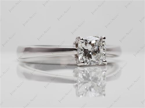 White Gold 0.90 Cushion cut Diamond Rings
