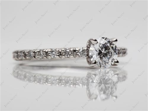 Platinum 0.43 Round cut Pave Setting Rings
