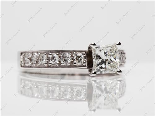 White Gold 0.73 Princess cut Engagement Rings Pave