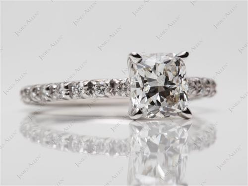 White Gold 1.25 Cushion cut Micro Pave Engagement Rings