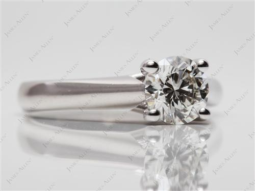 White Gold 0.83 Round cut Diamond Engagement Solitaire Rings